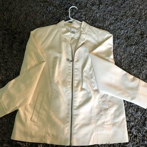 Vegan leather jacket, size lg, creamy white